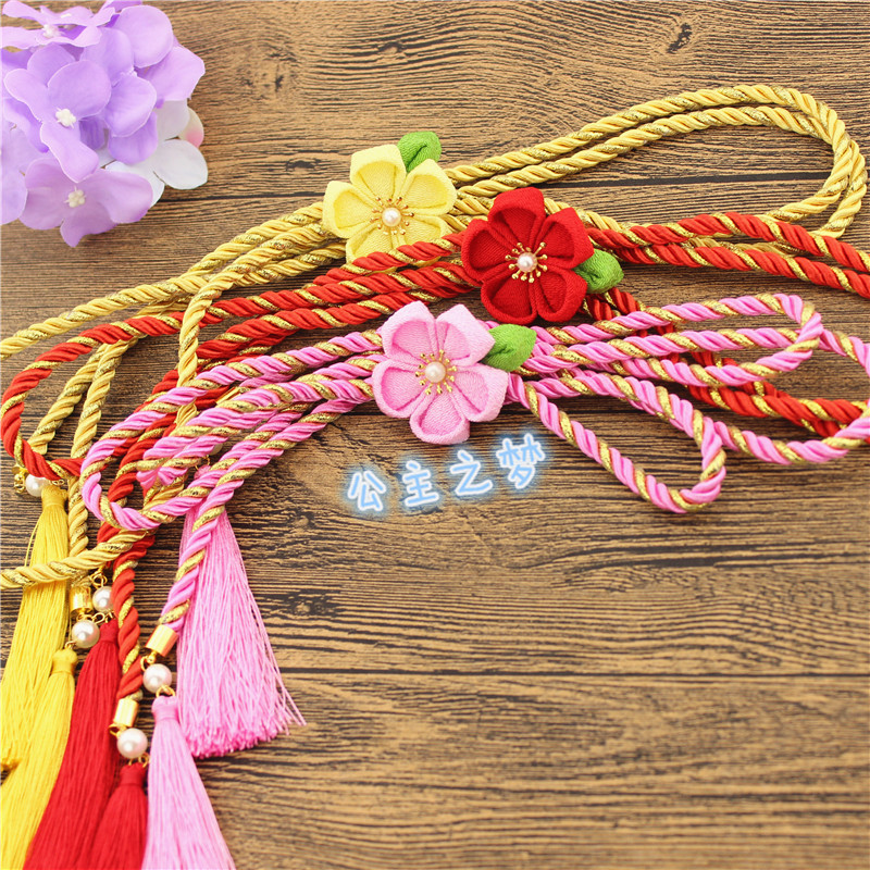 Japanese Kimono Feng Waist Rope Bathrobe Belt Decoration Cherry Blossom Put Joker Crony Hanfu Fringed The Waist Sealing