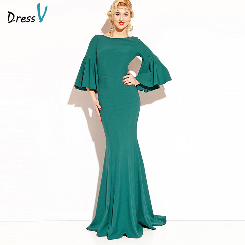 Dressv Emerald Green Long 2017 Evening Dress 3 4 Sleeves Backless Cheap Wedding Party Formal Dress