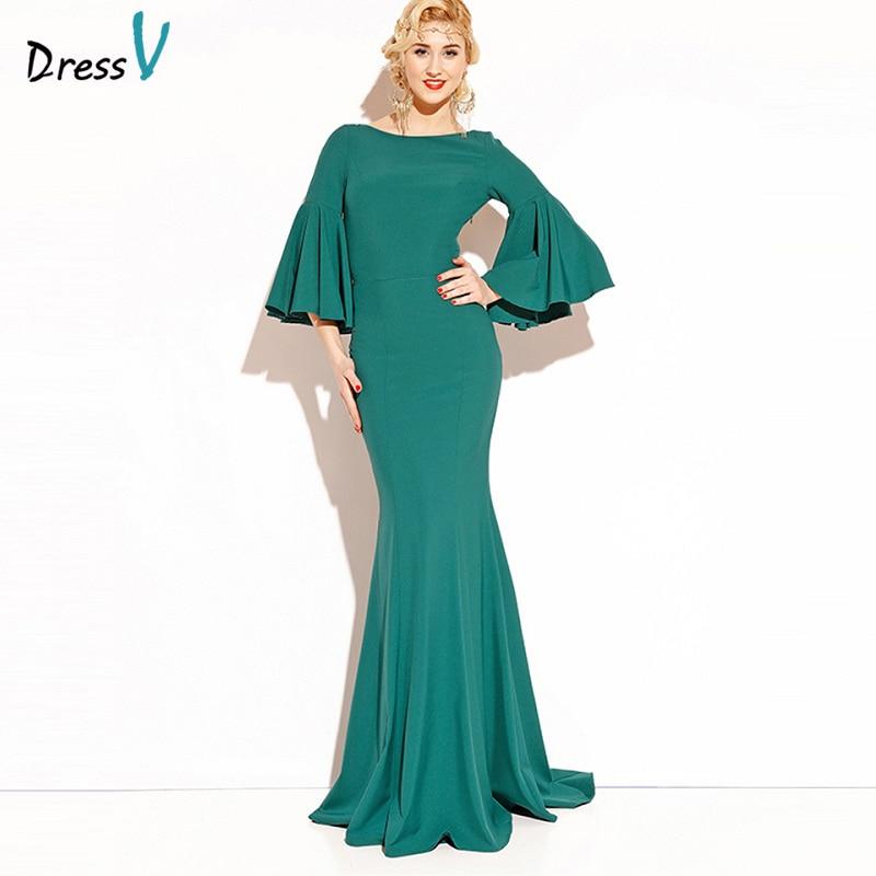Dressv Emerald Green Long 2017 Evening Dress 3 4 Sleeves Backless Cheap Wedding Party Formal Dress