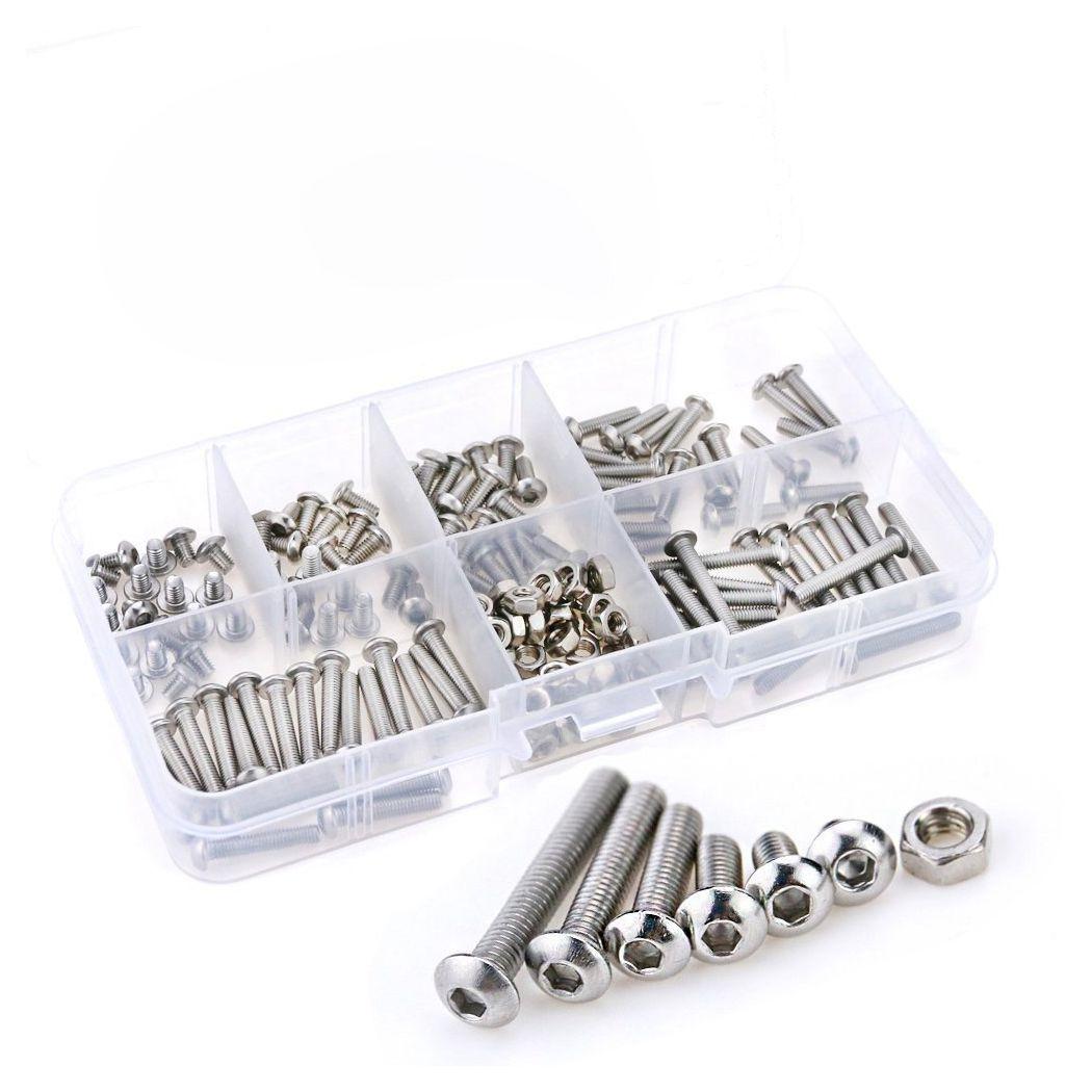 WISH-230Pcs M3 Stainless Steel Hex Hex Drive Button Head Socket Cap Bolts Screws Nuts Assortment Kit (M3) 50pcs m3 stainless steel allen head hex socket grub screw bolts nuts fasteners m3 screws hardware m3 x4 6 8 10 12 14 16 20mm