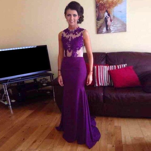 Long Mermaid Tail Crop Top Purple Prom Dress Party Scoop Liques Dresses Custom Made