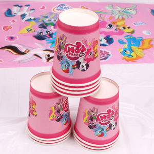 Image 4 - Опциональное украшение для Маленького Пони, сувениры для вечерние Ринок, тарелки, вилки, товары для детского дня рождения, наборы одноразовой посуды