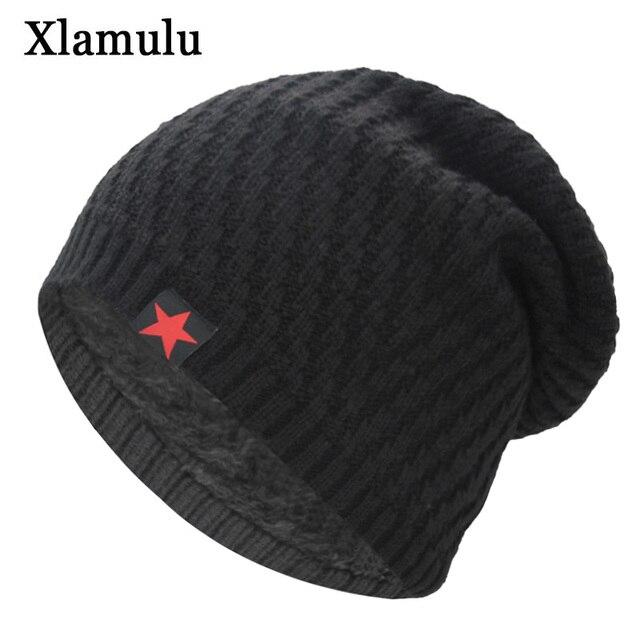 3dd334c6be5 Xlamulu Skullies Beanies Knitted Hat Winter Hats For Men Women Beanie Warm  Baggy Male Gorros Bonnet