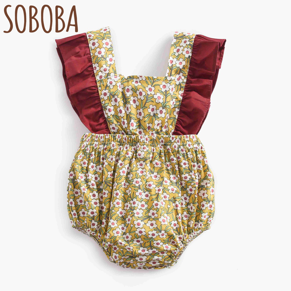 Soboba Yellow Flowers Print Square Collar Holiday Baby Bodysuits Floral Summer Style Sleeveless New Born Girls Bodysuits 2018
