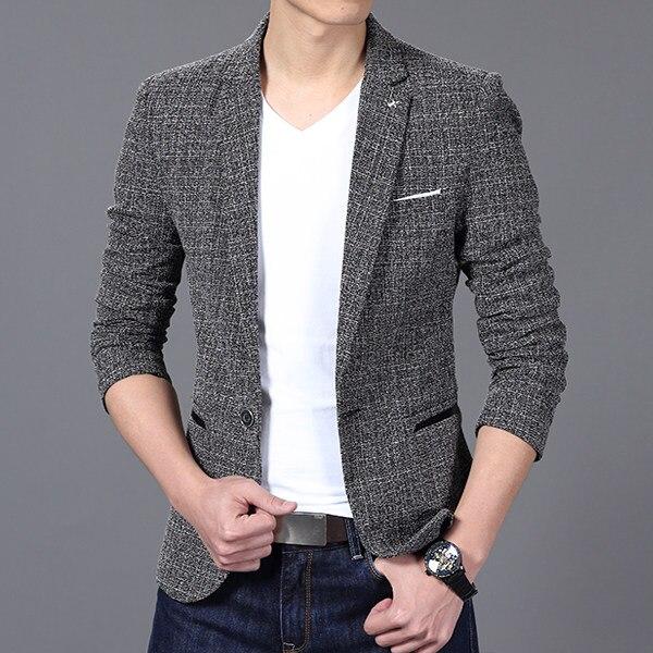 Homens de luxo Da Marca Suit jacket Blazer Moda Primavera Um Botão Blazers de Algodão Slim Fit Men Suit Terno Masculino Dos Homens
