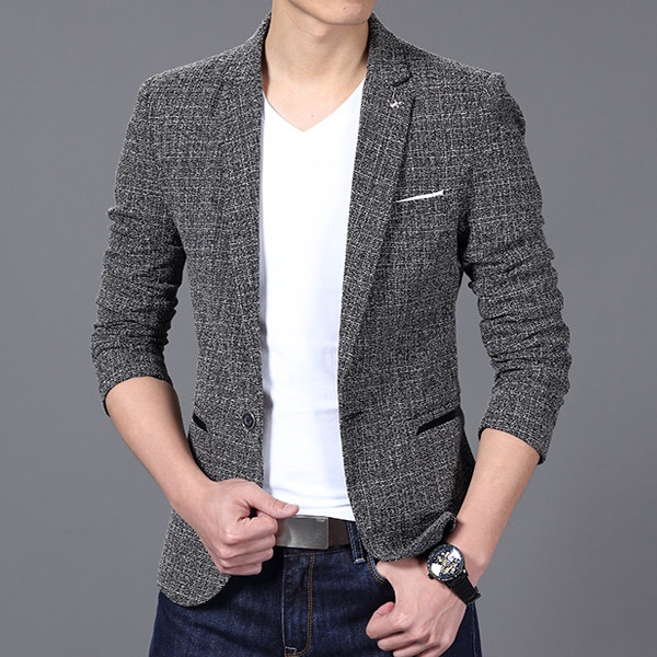 Marca de luxo dos homens terno blazer primavera moda um botão algodão fino ajuste masculino terno masculino blazers