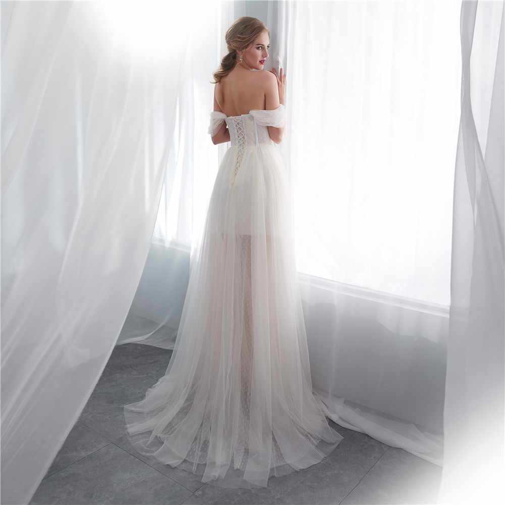 קיץ טול שנהב שמלות כלה עם רעלה כבוי כתף אפליקציות סקסי כלה מסיבת חתונת שמלות תחרה עד porte nom mariage