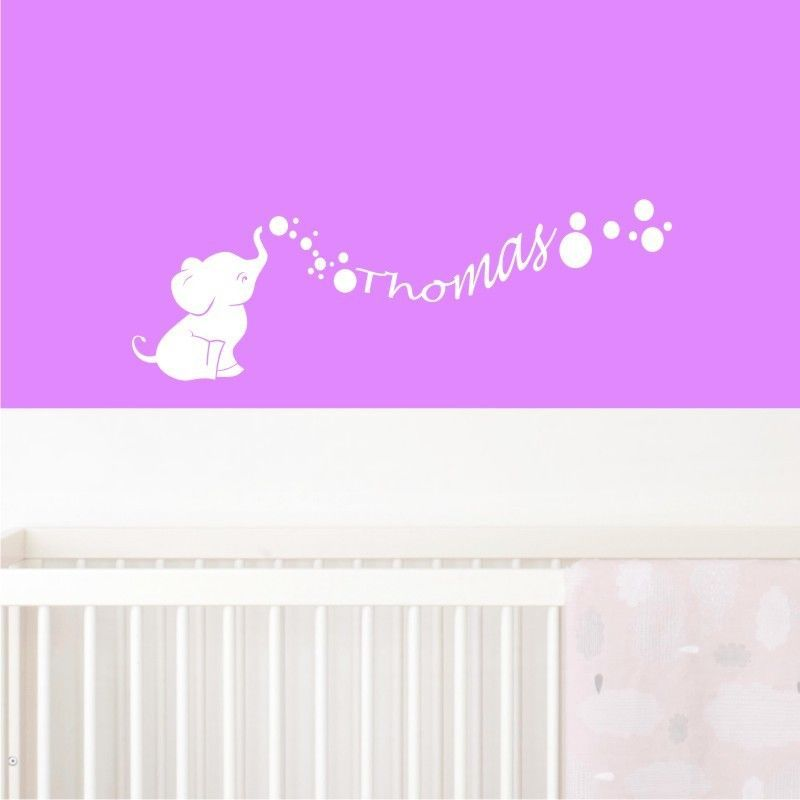 E127 Cute Baby Elephant Bubbles Wall stickers Decal girls Boys kids room Wall Personalized Name Nursery Decoration