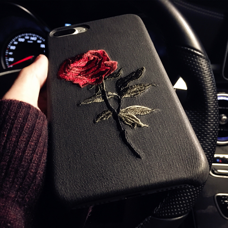 HTB1CyoLRFXXXXbQXXXXq6xXFXXXu - Hot Sale! Elegant Embroidery Rose Flower phone Case for iPhone 6 /6S /Plus Light Women Stylish Art Vintage phone Back Cover PTC 292