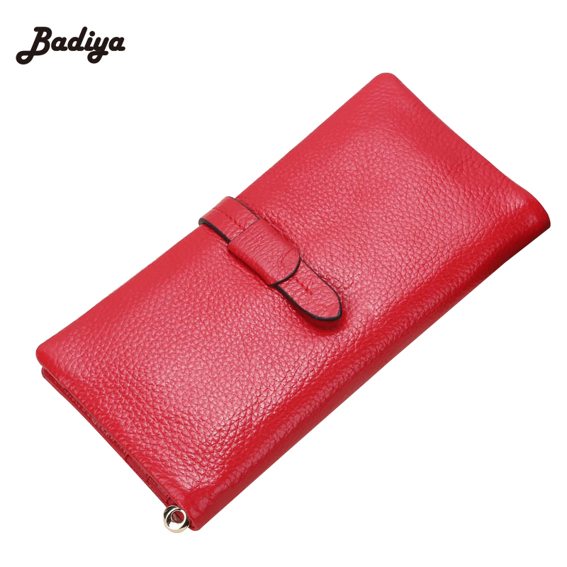 Genuine Leather Purses European Style Long Wallet Women Elegant Female Red Women's Wallets 2 Fold Hasp Clutch Purses For Ladies genuine cow leather women s wallet long style big capacity tri fold organizer wallets knitting women s purses jm 01289
