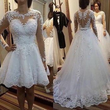 907916b5e Vestido de novia de encaje de talla grande de manga larga vestido de novia  de línea a botones cinturón elegante con flores