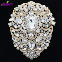 Big Large Pretty Gold Flower Brooch Pin Wedding Bridal Jewelry 4 9 W Drop Rhinestone Crystal