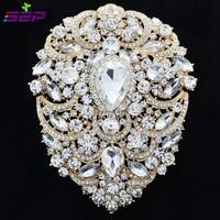 Big Large Pretty Gold Flower Brooch Pin Wedding Bridal Jewelry 4 9 W Drop Rhinestone Crystal