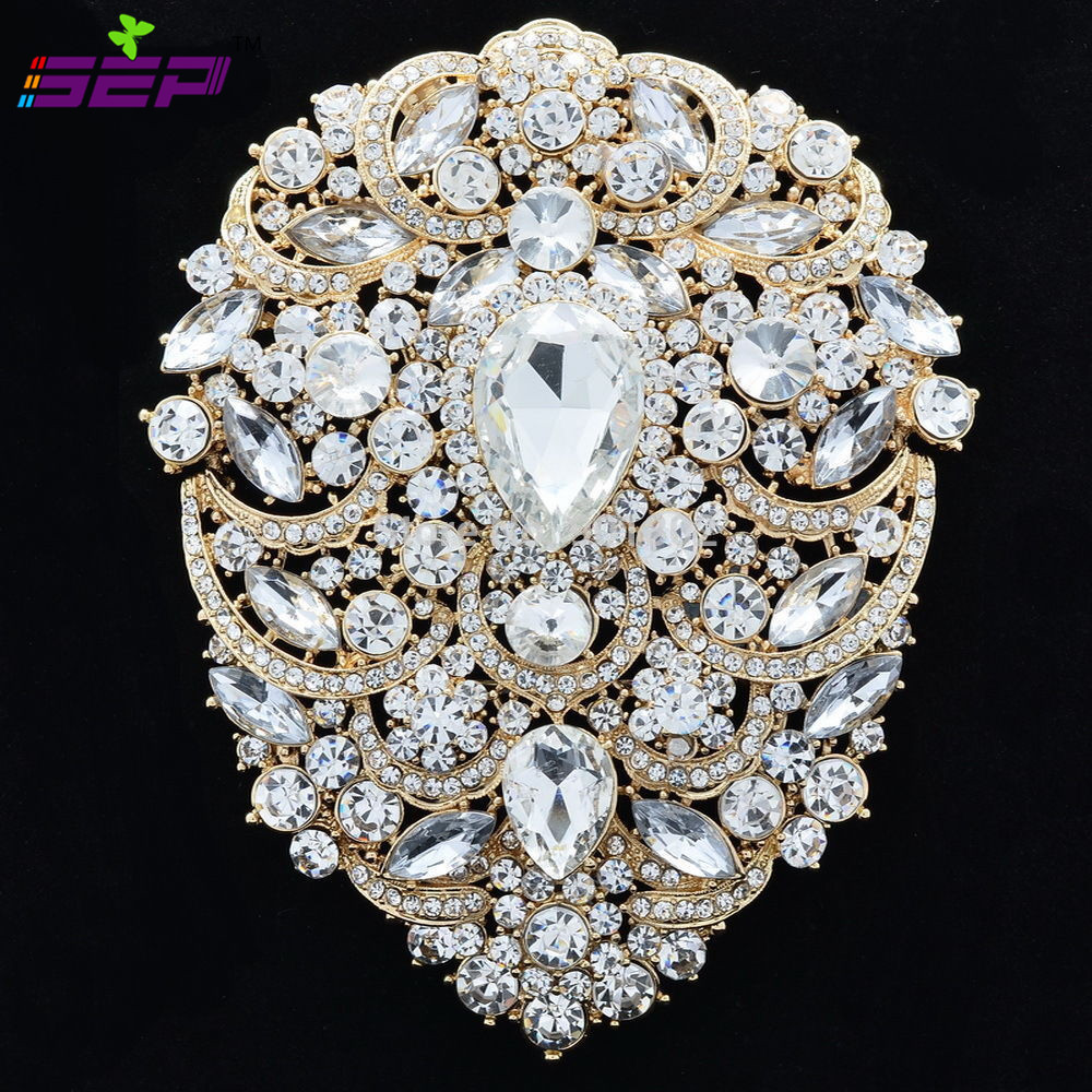 Large Brooch Pins Bridal Wedding Jewelry 4.9 inches Rhinestone Crystal Women Jewelry Accessories 4045 цена 2017