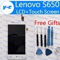 Para lenovo s650 tela sensível ao toque + display + digitador assembléia painel de vidro lcd 100% novo e original para lenovo s650 4.7 polegadas