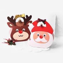 1fbcb86ff 2 Unid cajas de papel Elk patrón Santa Claus regalo bolsas de caramelos de  empaquetado de