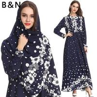 Muslim Dress with Free Scarf Arabic Islam Women Clothing Summer Long Ankle Dress Chiffon Long Sleeve Dots Flower Front Zip M XXL