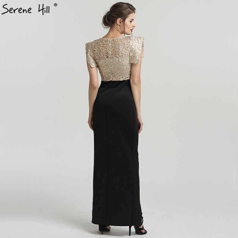 Siyah Dubai tasarım Mermaid moda bölünmüş abiye 2019 boncuk kolsuz lüks uzun resmi elbise Serene tepe QA8025