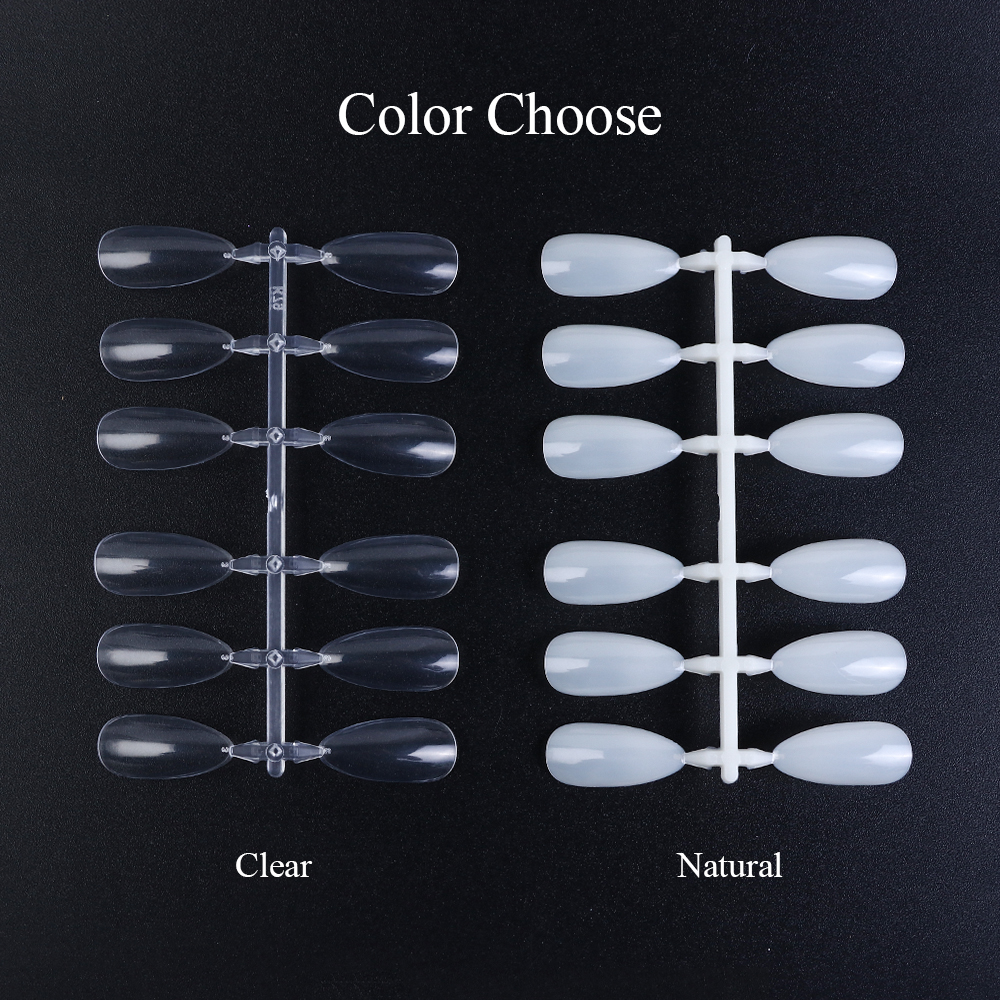 120pc ClearNatural False Nail Art Tips Stiletto Design Acrylic Fake Nails UV Gel Polish Artificial Forms Finger Manicure  2