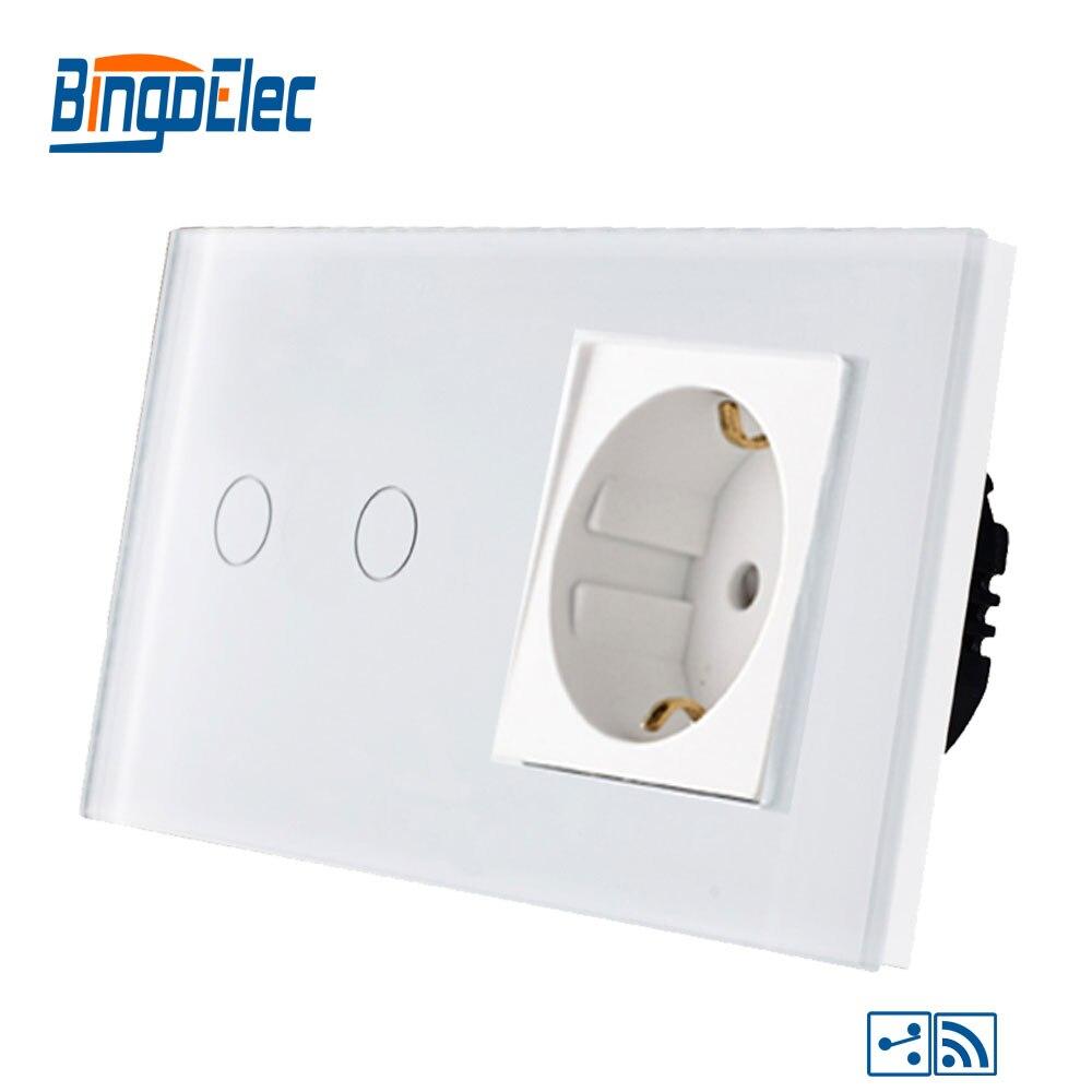 Bingoelec 2 Gang 2 Way Touch Switch Remote Function Part Fashion Glass Panel Germany Socket RF 433.92 MHZ Sensor Light Switch
