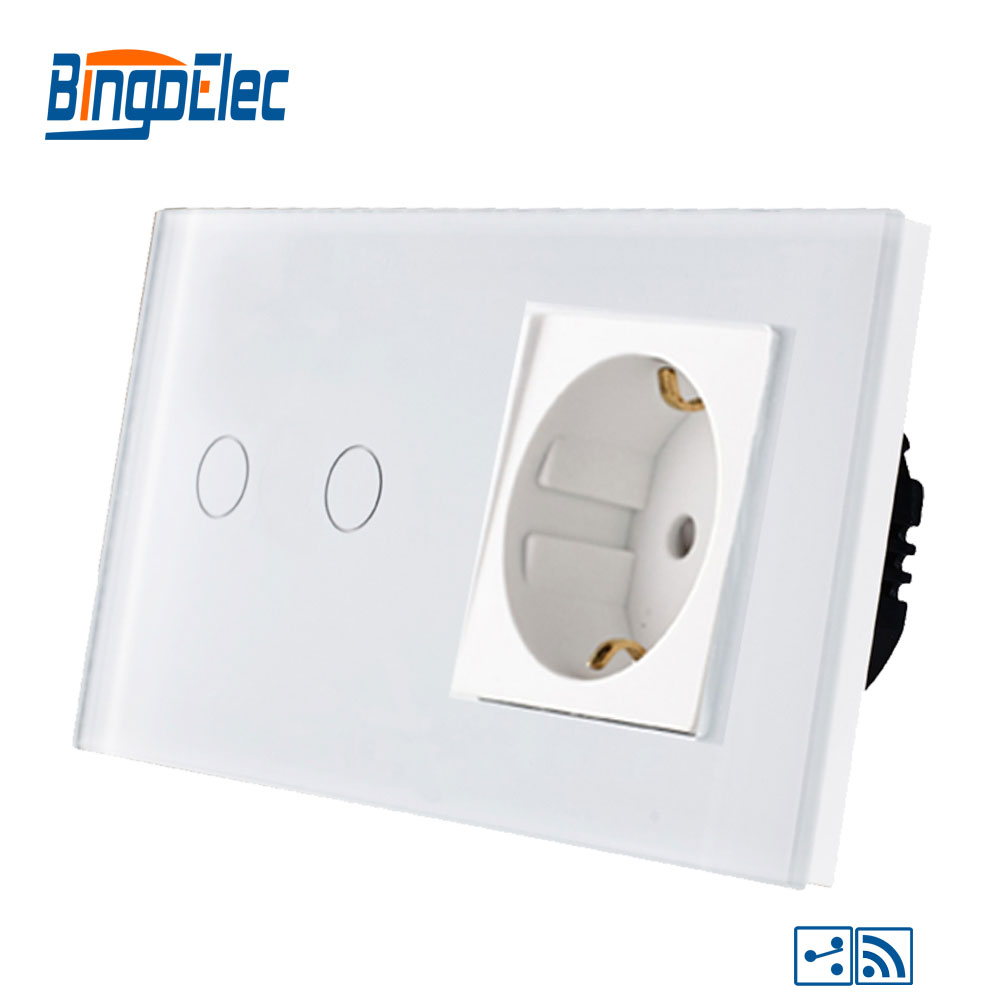 Bingoelec 2 Gang 2 Way Touch Switch Remote Function Part Fashion Glass Panel Germany Socket RF 433.92 MHZ Sensor Light SwitchBingoelec 2 Gang 2 Way Touch Switch Remote Function Part Fashion Glass Panel Germany Socket RF 433.92 MHZ Sensor Light Switch