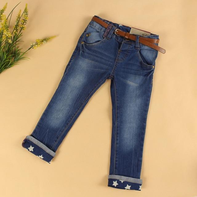Baby Girls Fashion Denim Jeans Girls Star-print Denim Jeans with Belt Kids Skinny Jeans Child Casual Spring Autumn  Long Pants