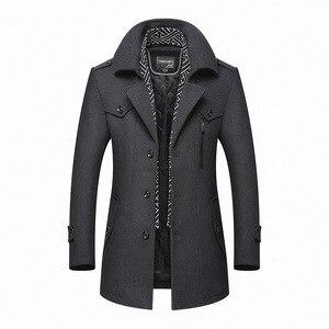 Image 4 - Bolubao masculino casaco de lã de inverno moda masculina gola virada para baixo quente mistura de lã grossa casaco de ervilha masculino trench coat