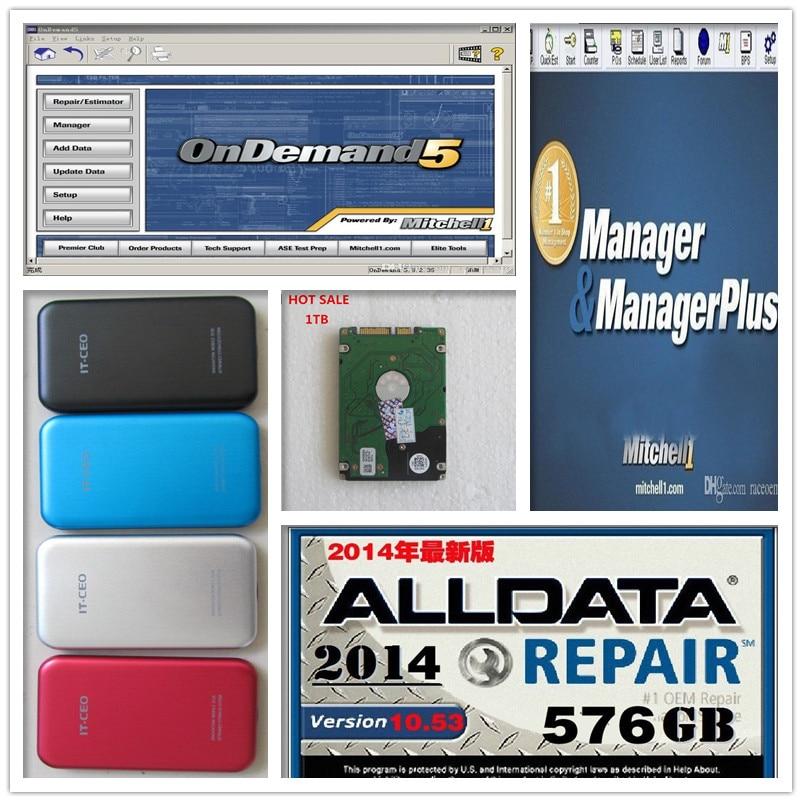 3in1 Авто Ремонт 1 ТБ HDD Alldata Митчелл программного обеспечения Alldata 10.53 + Митчелл по требованию программного обеспечения 2015 + менеджер плюс