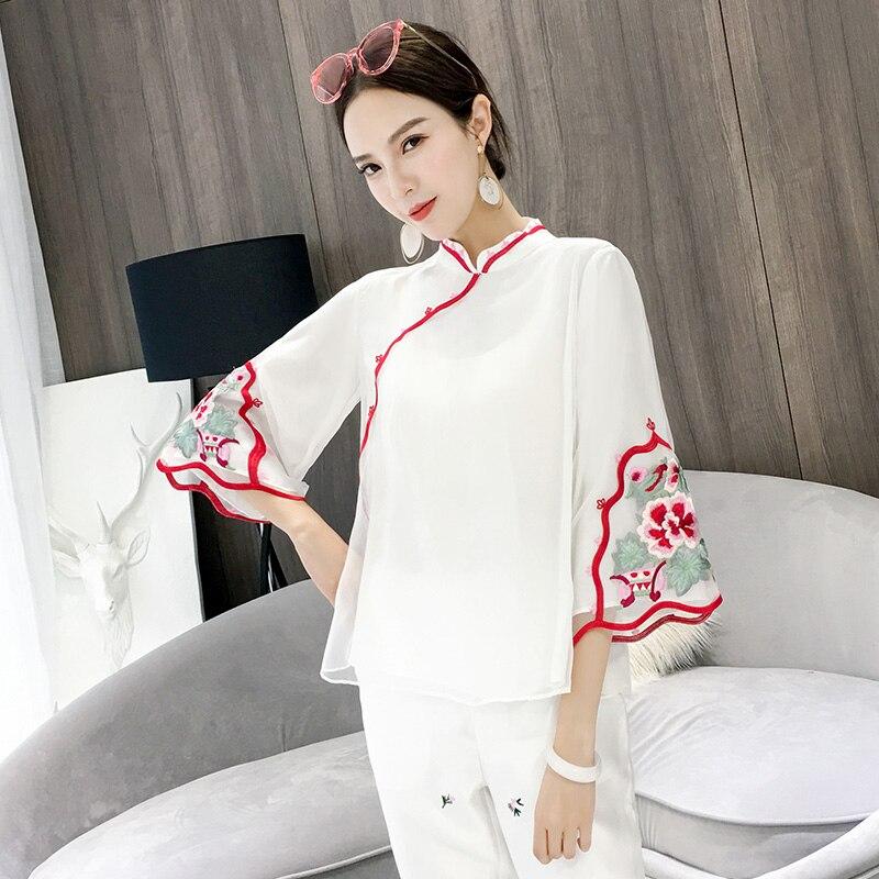Style chinois dame fait main bouton chemise blanc bohème trois quart manches Blouse Vintage été broderie Floral haut S M L