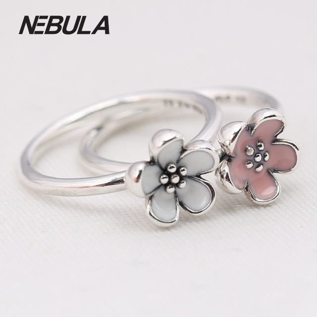 Authentic 925 Sterling Silver Daisy Silver Ring With White & Pink Enamel Compatible with Pandora Ring Original Jewelry Wholesale