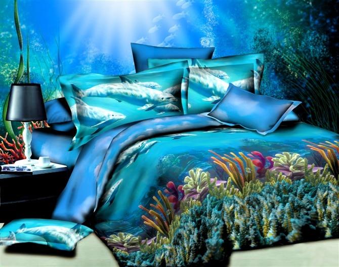 Blue Ocean Dolphin Bedding Sets Queen Size Quilt Duvet