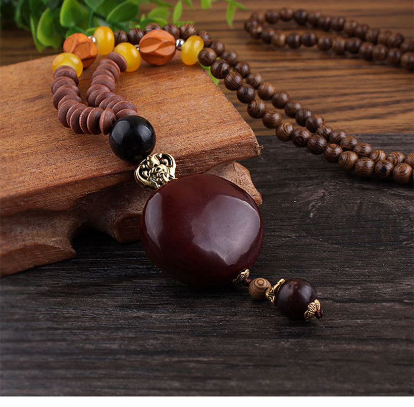 2019 New Retro Bodhi Pendant Wood Bead Necklace Long Wooden Sweater Chain Cotton And Linen Pendant For Women Men Jewelry Gift