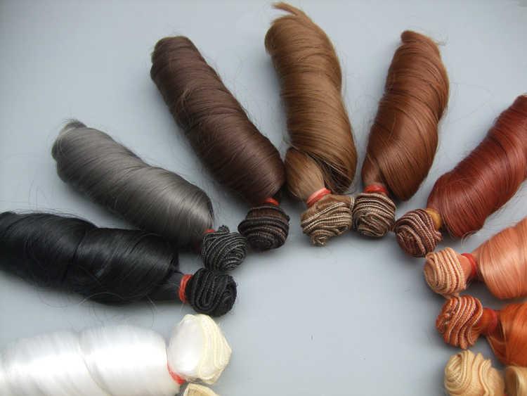 Envío Gratis, pelucas rizadas de muñeca de 15 cm, pelo de muñeca marrón caqui negro resistente al calor de alta temperatura, pelucas BJD diy para muñecas 1/3 1/4
