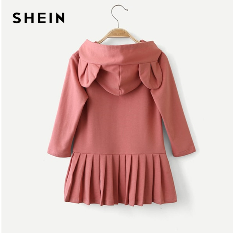 SHEIN Kiddie Pink Solid Cute Rabbit Sweat Pleated Kids Dresses For Girls Clothing 2019 Spring Long Sleeve Casual Girls Dress
