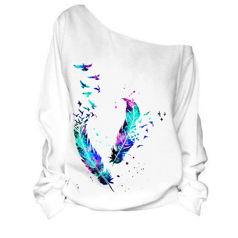 EXOTAO Sexy Women Off Shoulder Sweatshirts Loose Long Sleeve Hoodies Chic Feather Printing Pullover Autumn Casual Female Tops