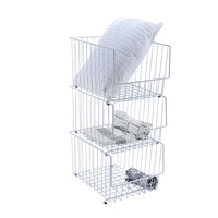 2019 Laundry Baskets New Arrival Metal Collect Basket Cesta Panier Wardrobe Receiving Shelf Separation In Clothing Eco friendly