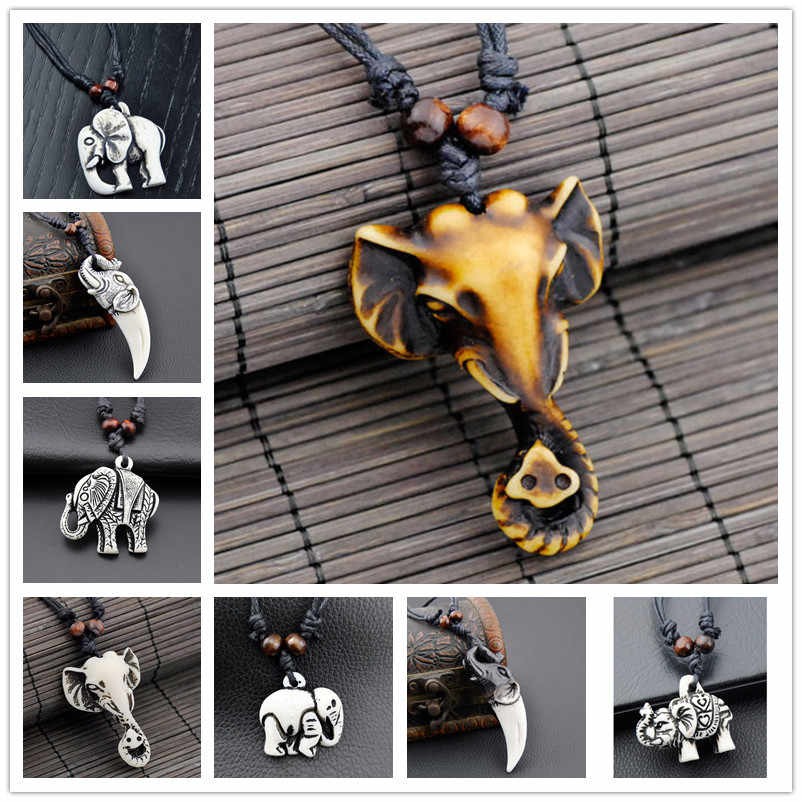 Cool Imitation Bone Carved Tibetan Elephants pendants necklaces Lucky charms amulet gifts for men women's jewelry DX001