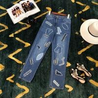 WD0728 модные женские джинсы 2019 подиумная Роскошная известная марка европейский дизайн вечерние Стиль Женская одежда