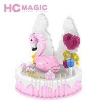 HC MAGIC 1015 Diamond Flamingo Cake Assembly Model Building Blocks Children Birthday Gifts Figures DIY Toys Anime Princess