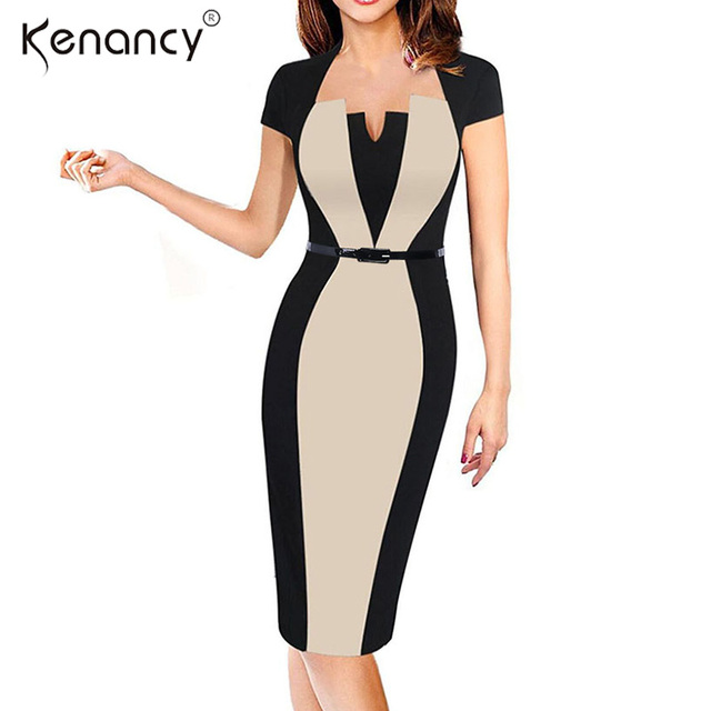 Kenancy 2XL Optical Illusion Slim Color Block Belted Pencil Dress Women  Party   Office Patchwork Bodycon 340d13e7eadb