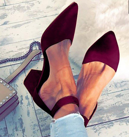 Ladies Girls Sexy Party Bandage Ankle Strap Autumn Sandals Shoes Big Size 34-42 Women Pointed Toe Flock High Heels Sandals Shoes