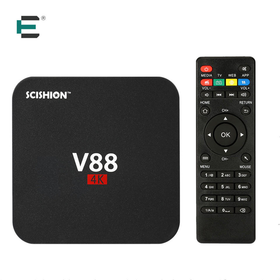 Rockchip 3229 Quad Core 4K kodi 16 smart V88 TV box android 5.1 media player 1G+ 8G HDMI European IPTV set top box XBMC Mini PC zidoo x7 android 7 1 hdr hdmi smart tv box bluetooth4 1 usb 3 0 per install kodi build for iptv 2g 8g frees shipping