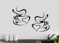 10pcs/Pack 2 Coffee Cups Kitchen Wall Tea Sticker Vinyl Decal Art Restaurant Pub Decor Love