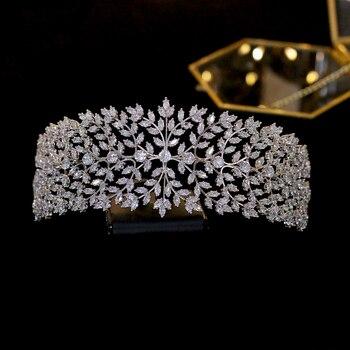 ASNORA  Cubic Zirconia Wedding Princess Tiara Crown Women Girl Graduation Hair Jewelry Accessories Real  Plated