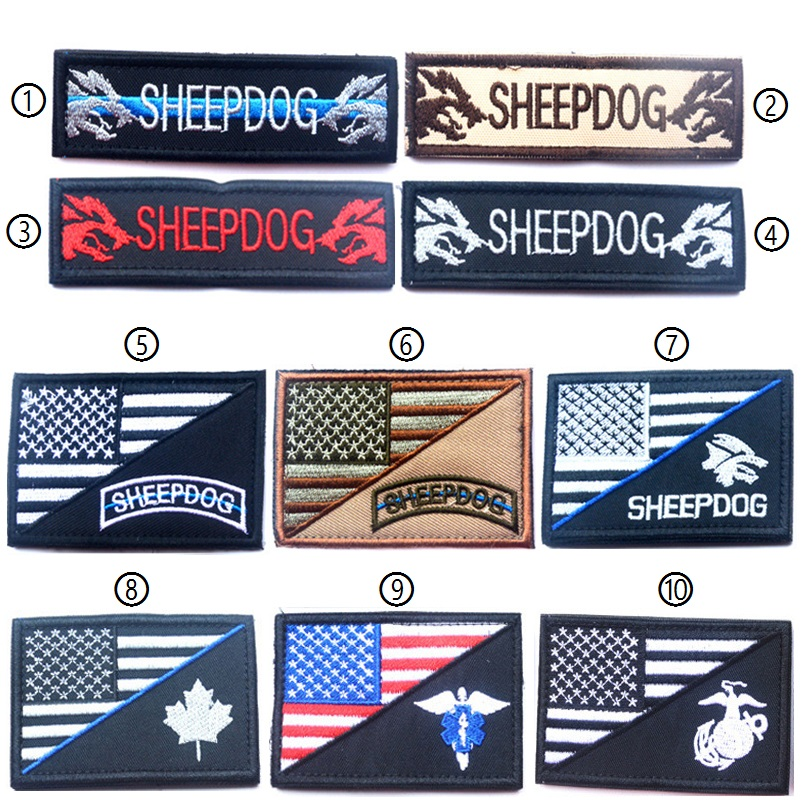 50pcs United States Flag Medical Sheepdog Patch Morale Tactical Patches Hook&loop Embroidery Badge Military Army Badge Wholesale Entertainment Memorabilia