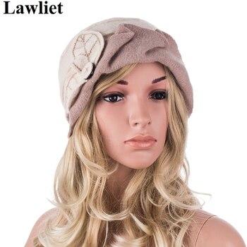 A375 2016, Boina Floral de invierno a la moda para mujer, Boina de lana, sombrero de cubo para mujer, solideos femeninos