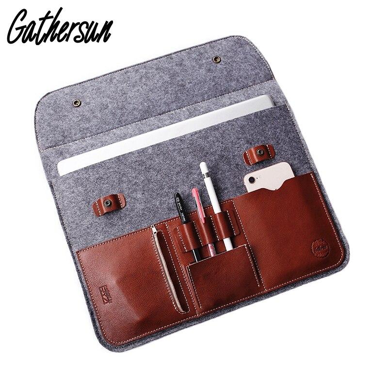 12' 13.3' Laptop Protective Bag Wool Felt Leather Sleeve for Macbook Air Pro Vintage Felt Leather Case with Power Adapter Bag цены
