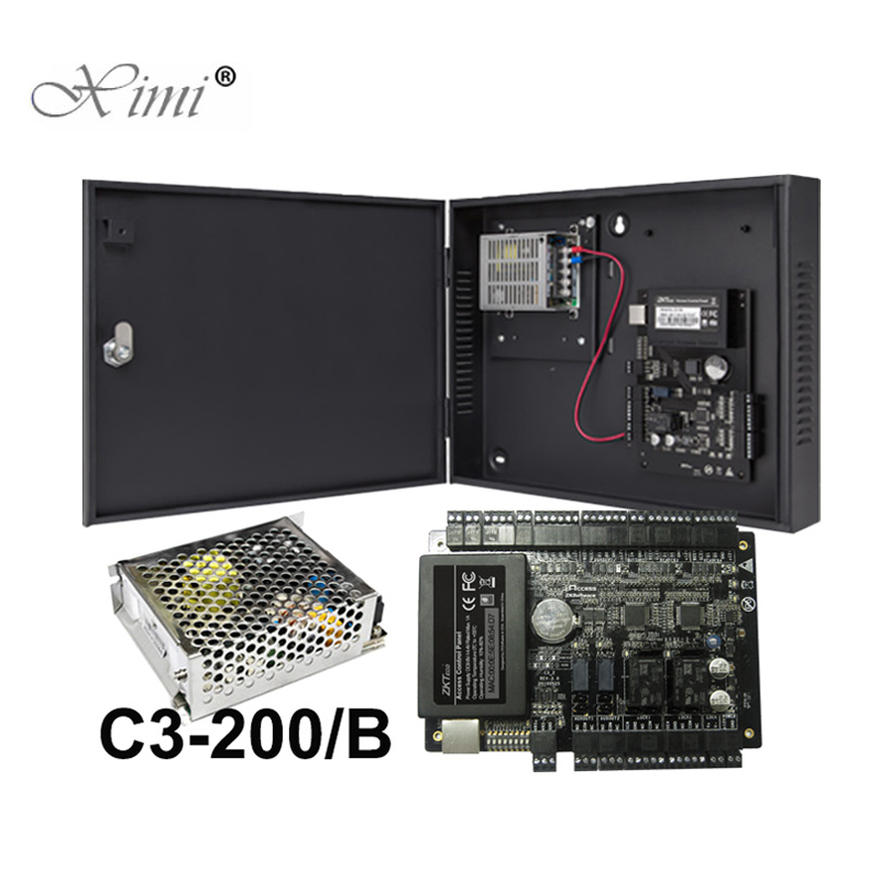 RFID Card Door Access Control System With Battery Function Power Supply Box ZK TCP IP C3