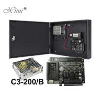 RFID Card Door Access Control System With Battery Function Power Supply Box ZK TCP/IP C3-200 2 Doors Access Control Panel