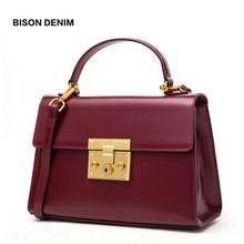 BISON DENIM Genuine Leather Women Bag Vintage Fashion women'